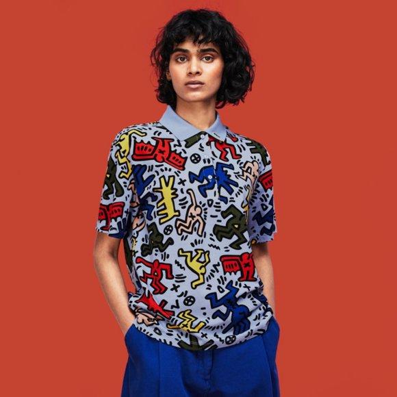 Keith Haring + Lacoste Allover Print Polo Shirt